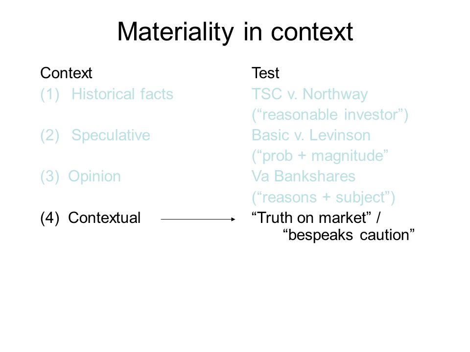 Materiality in context Context (1)Historical facts (2)Speculative (3) Opinion (4) Contextual Test TSC v.