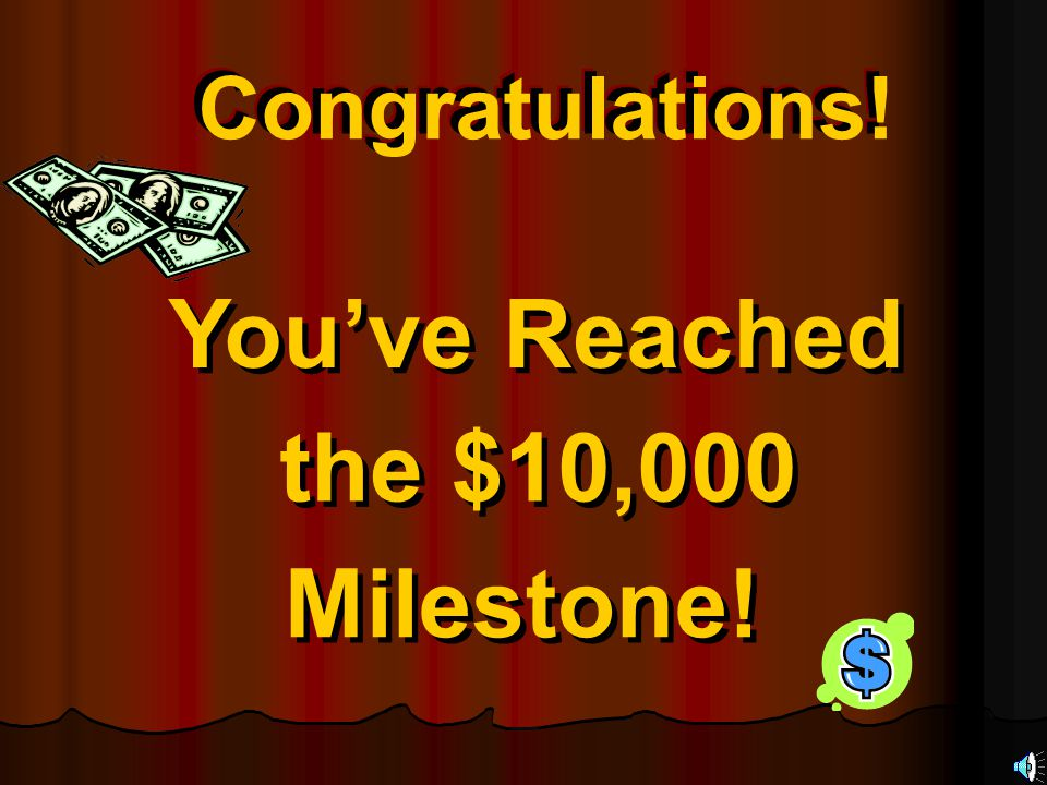 Congratulations.You've Reached the $10,000 Milestone.
