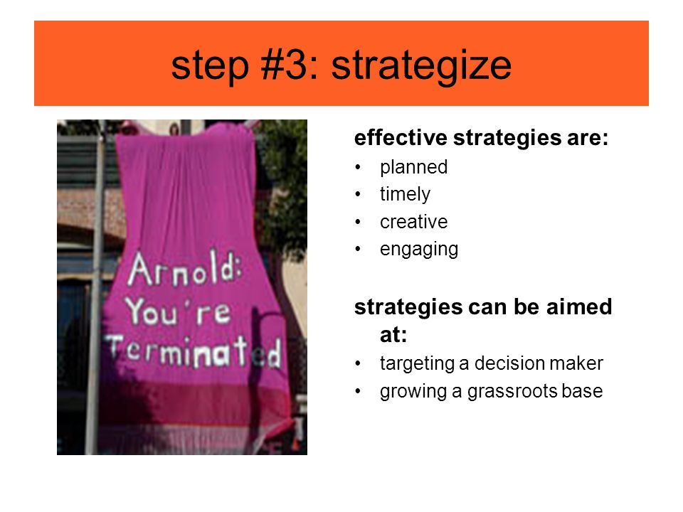 step #3: strategize effective strategies are: planned timely creative engaging strategies can be aimed at: targeting a decision maker growing a grassroots base