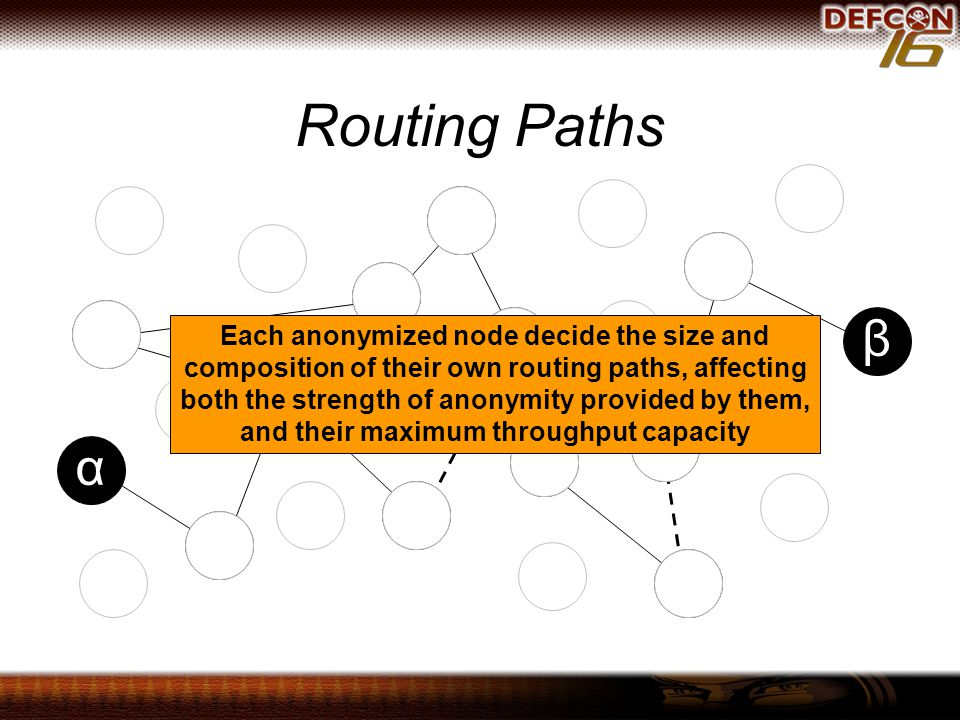 Routing Paths β α Each anonymized node decide the size and composition of their own routing paths, affecting both the strength of anonymity provided by them, and their maximum throughput capacity