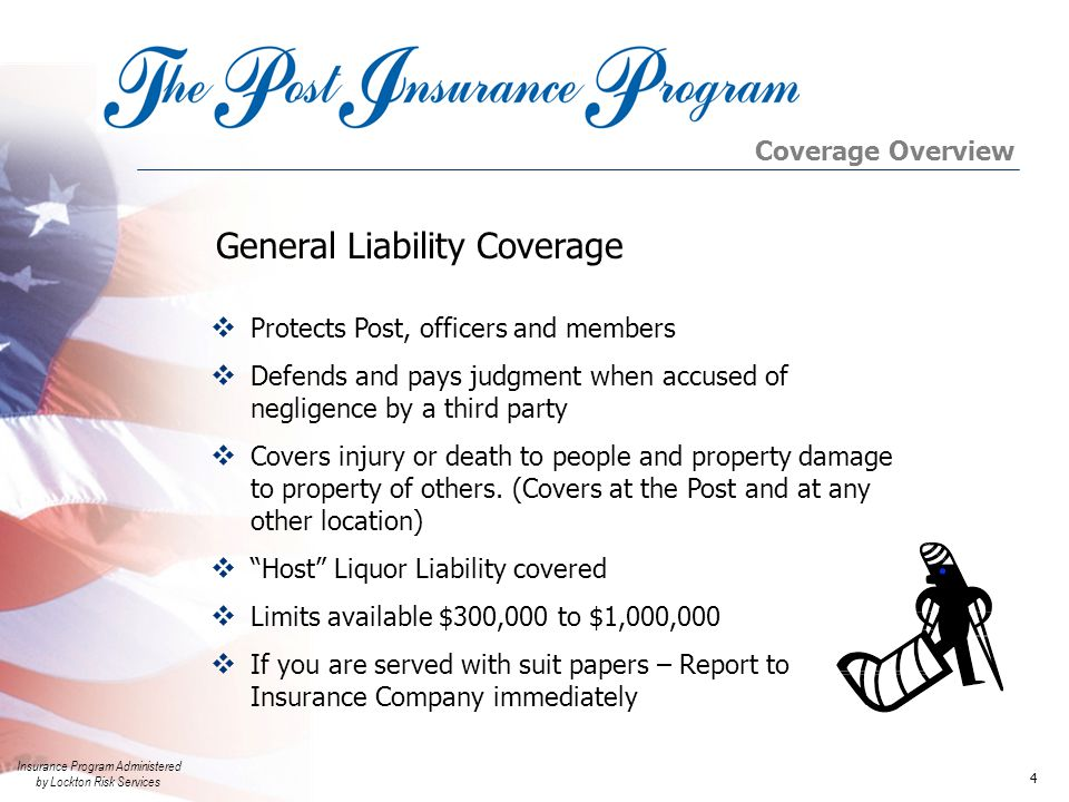 Insurance Program Administered by Lockton Risk Services 5 Medical Payments  Pays medical cost to injured party up to $5,000  Does not require proof of negligence  Covers Members  Quick payment; produces goodwill Coverage Overview