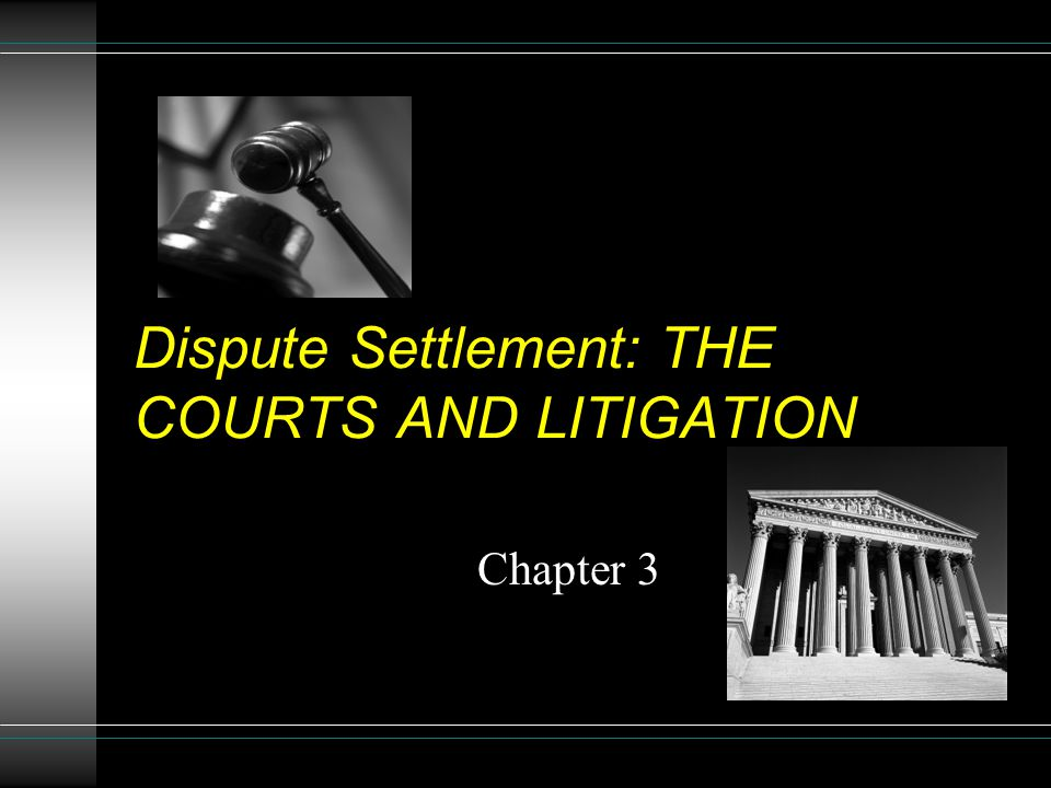 Dispute Settlement: THE COURTS AND LITIGATION Chapter 3