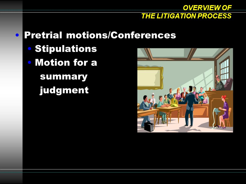 OVERVIEW OF THE LITIGATION PROCESS Pretrial motions/Conferences Stipulations Motion for a summary judgment