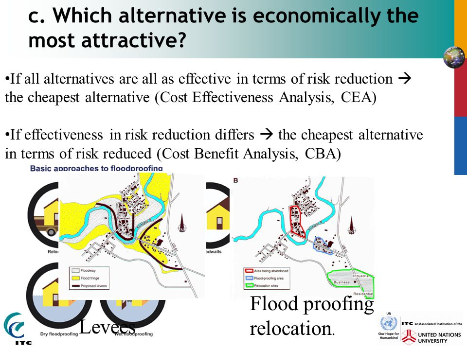 c. Which alternative is economically the most attractive? Flood proofing relocation. Levees If all alternatives are all as effective in terms of risk
