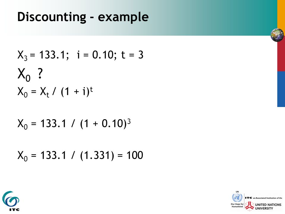 Discounting - example X 3 = 133.1; i = 0.10; t = 3 X 0 .