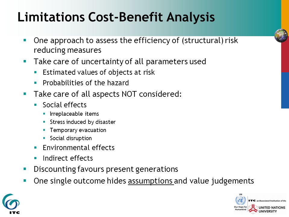 Limitations Cost-Benefit Analysis  One approach to assess the efficiency of (structural) risk reducing measures  Take care of uncertainty of all par