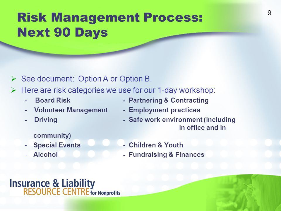 Risk Management Process: Next 90 Days  See document: Option A or Option B.