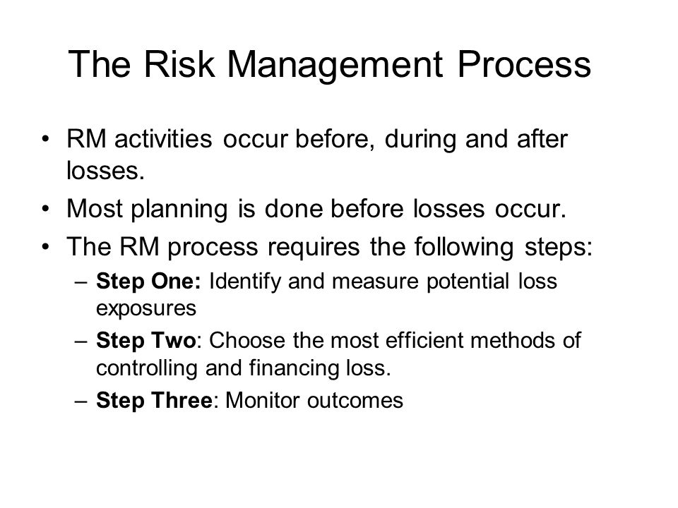 The Risk Management Process RM activities occur before, during and after losses. Most planning is done before losses occur. The RM process requires th