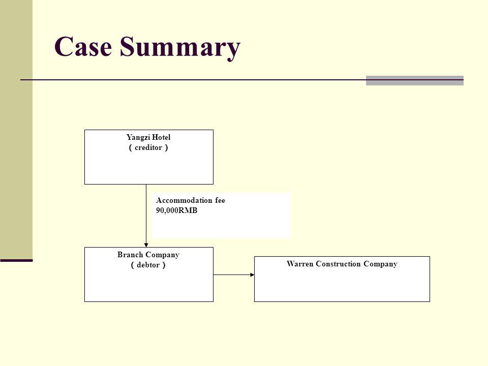 Case Summary Yangzi Hotel ( creditor ) Branch Company ( debtor ) Warren Construction Company Accommodation fee 90,000RMB