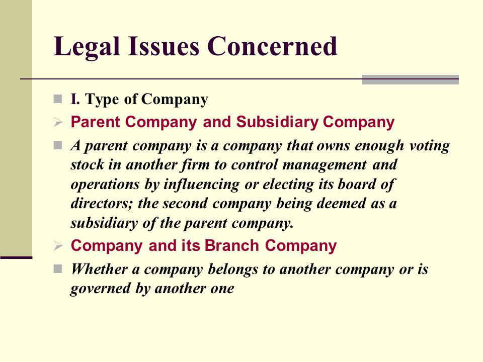 Legal Issues Concerned II.