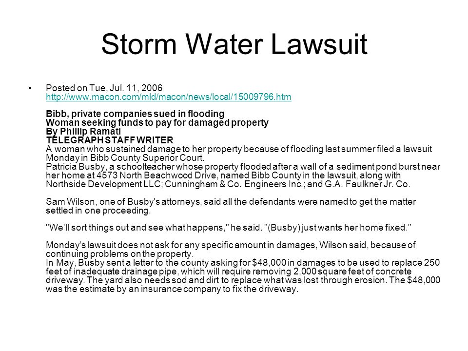 Storm Water Lawsuit Posted on Tue, Jul.