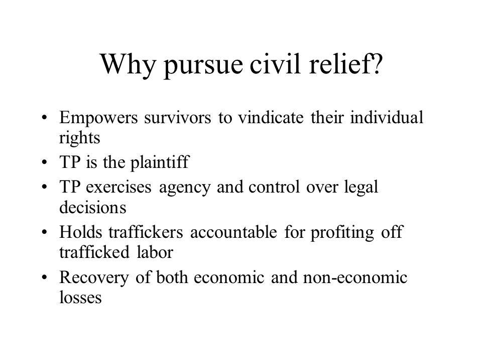Why pursue civil relief.