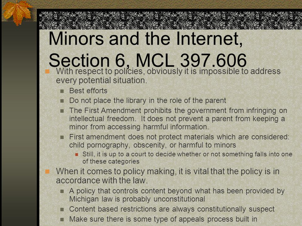 Minors and the Internet, Section 6, MCL 397.606 With respect to policies, obviously it is impossible to address every potential situation.