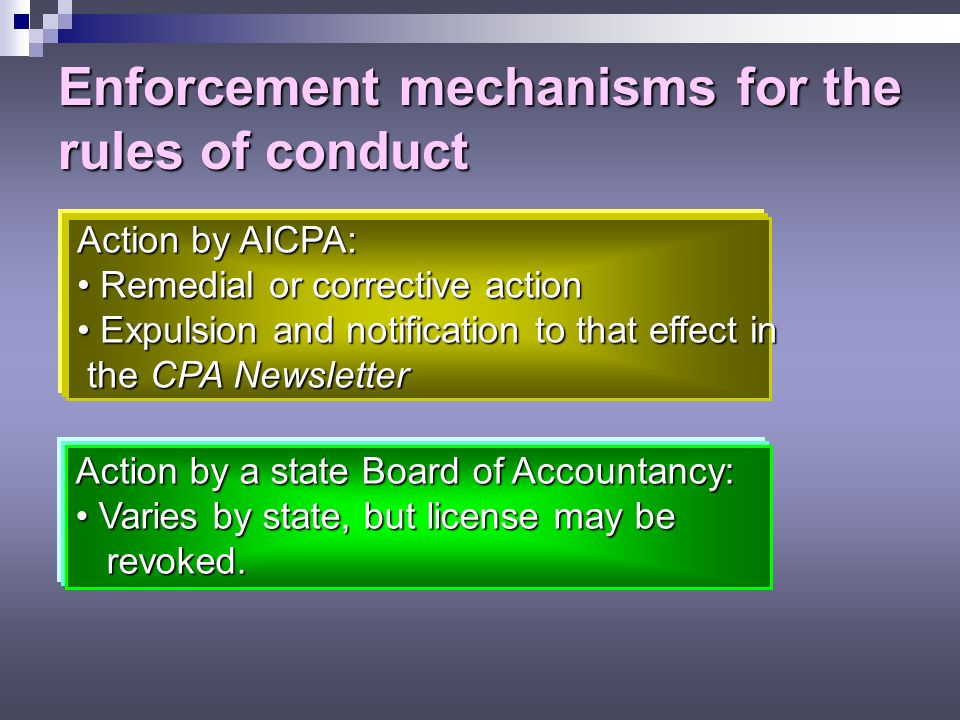 Other AICPA Rules of Conduct 102 – Integrity and objectivity 201 – General standards 202 – Compliance with standards 203 – Accounting principles 502 –