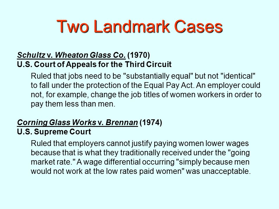 Two Landmark Cases Schultz v. Wheaton Glass Co. (1970) U.S.