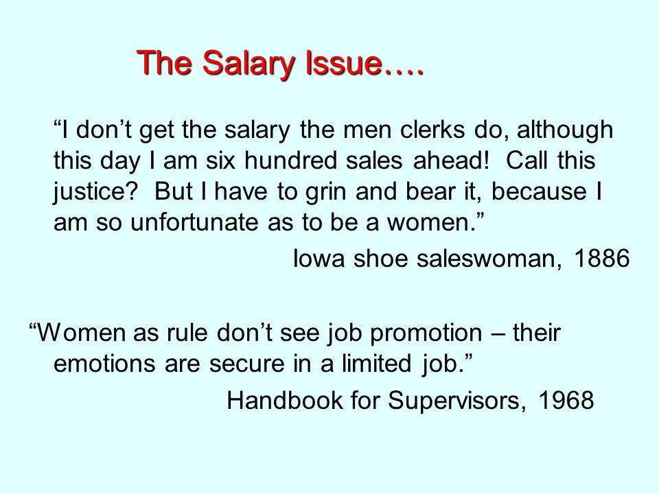 The Salary Issue….