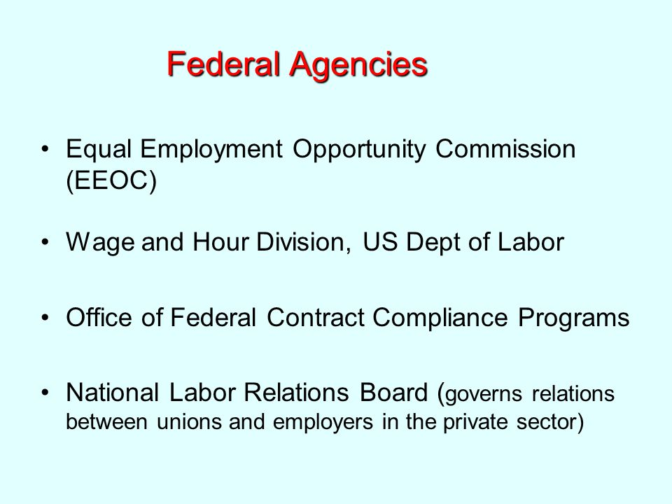 Federal Agencies Equal Employment Opportunity Commission (EEOC) Wage and Hour Division, US Dept of Labor Office of Federal Contract Compliance Programs National Labor Relations Board ( governs relations between unions and employers in the private sector)