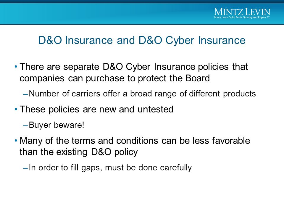 There are separate D&O Cyber Insurance policies that companies can purchase to protect the Board –Number of carriers offer a broad range of different