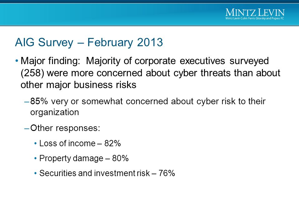 Major finding: Majority of corporate executives surveyed (258) were more concerned about cyber threats than about other major business risks –85% very or somewhat concerned about cyber risk to their organization –Other responses: Loss of income – 82% Property damage – 80% Securities and investment risk – 76% AIG Survey – February 2013