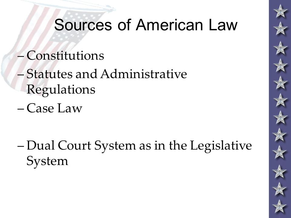Sources of American Law –Constitutions –Statutes and Administrative Regulations –Case Law –Dual Court System as in the Legislative System