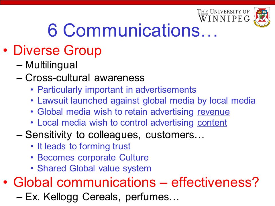 6 Communications… Diverse Group –Multilingual –Cross-cultural awareness Particularly important in advertisements Lawsuit launched against global media