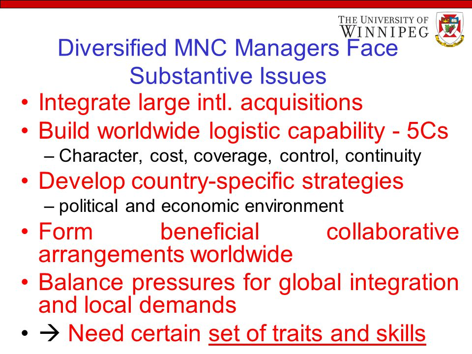 Diversified MNC Managers Face Substantive Issues Integrate large intl. acquisitions Build worldwide logistic capability - 5Cs –Character, cost, covera