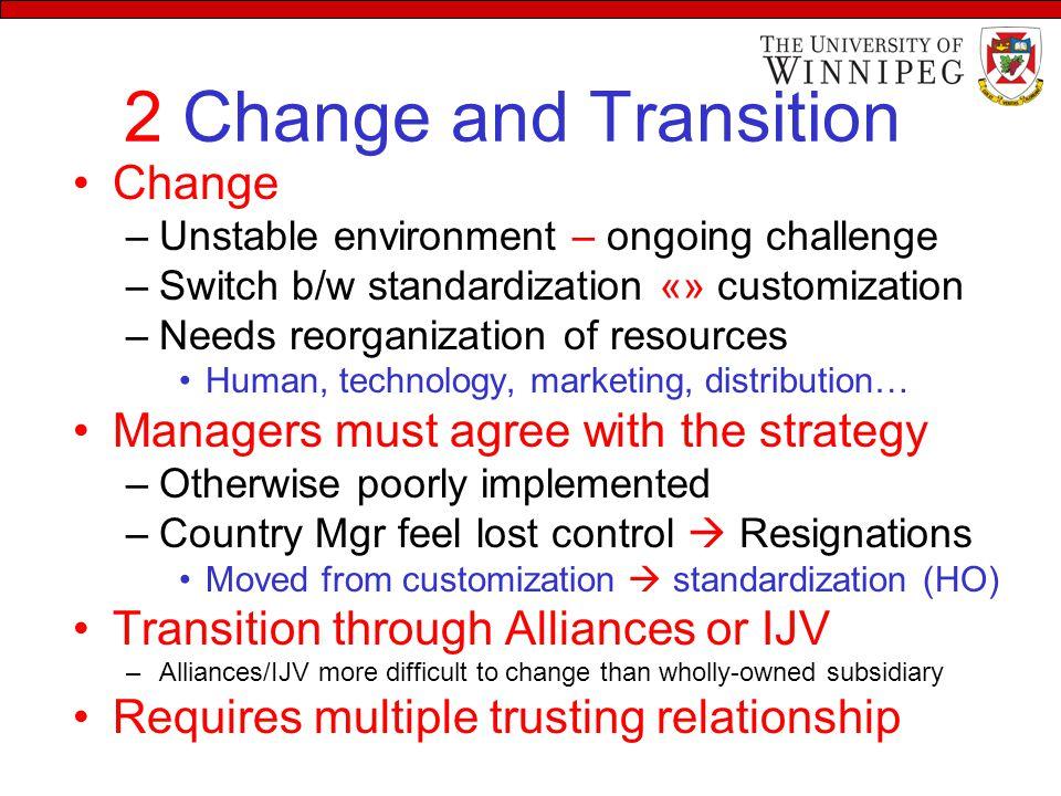 2 Change and Transition Change –Unstable environment – ongoing challenge –Switch b/w standardization «» customization –Needs reorganization of resourc