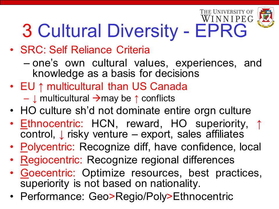 3 Cultural Diversity - EPRG SRC: Self Reliance Criteria –one's own cultural values, experiences, and knowledge as a basis for decisions EU ↑ multicult