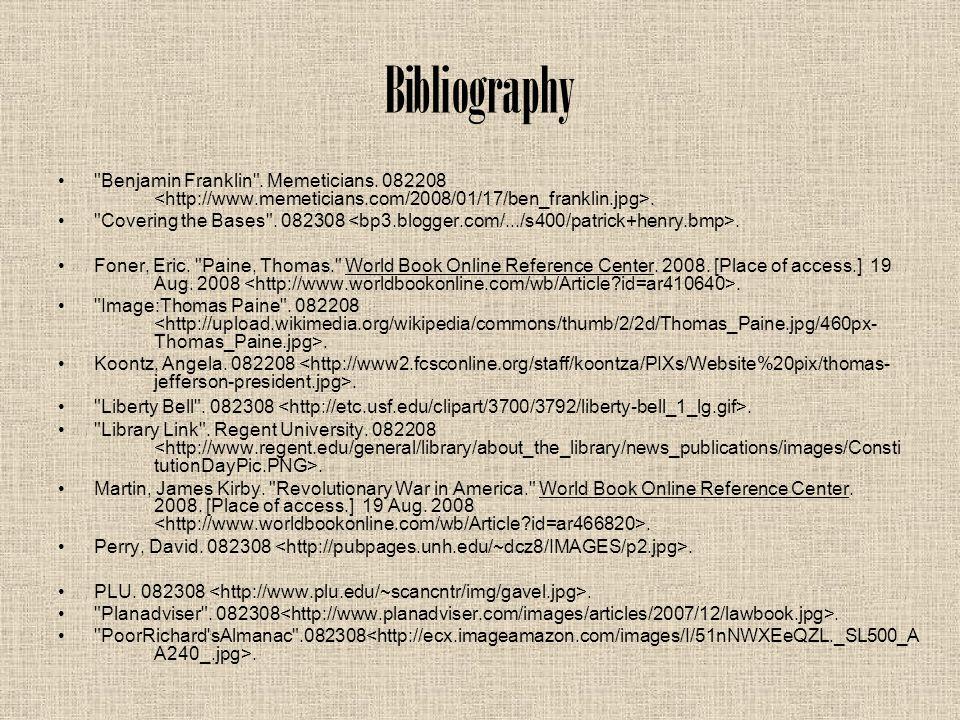 Bibliography Benjamin Franklin . Memeticians. 082208.