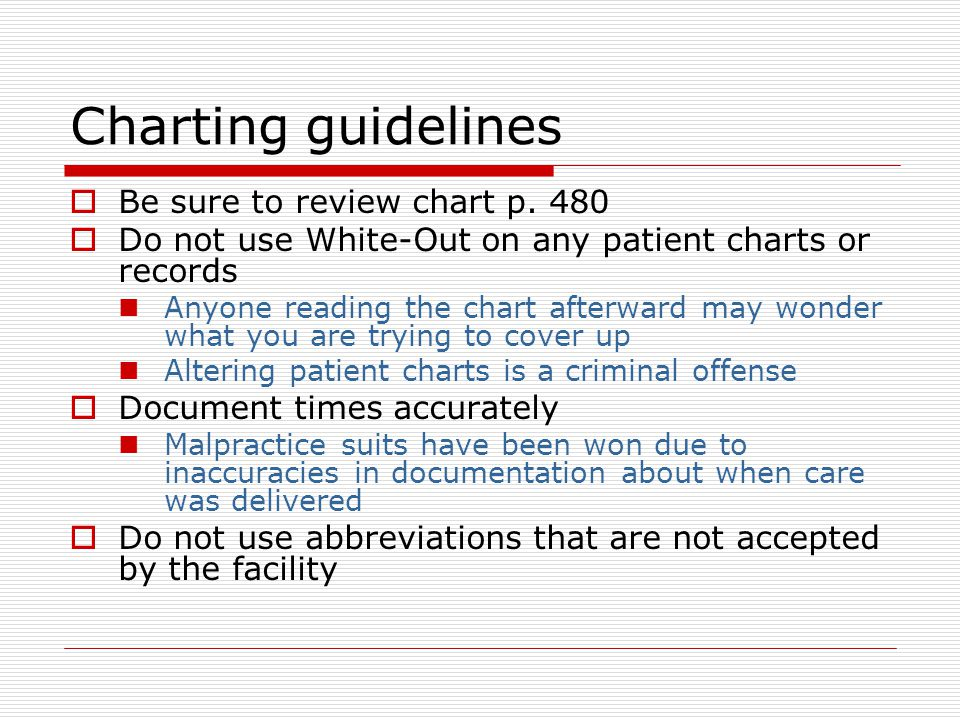 Charting guidelines  Be sure to review chart p.