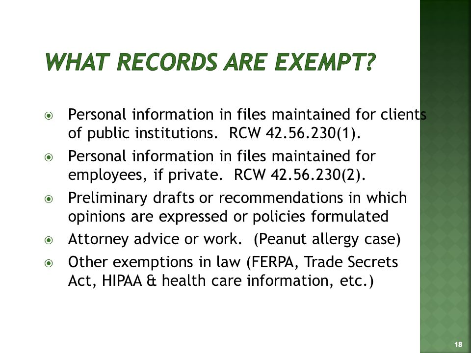  Personal information in files maintained for clients of public institutions.