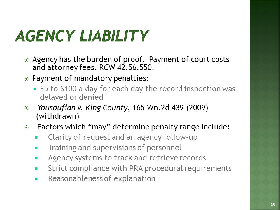  Agency has the burden of proof. Payment of court costs and attorney fees.