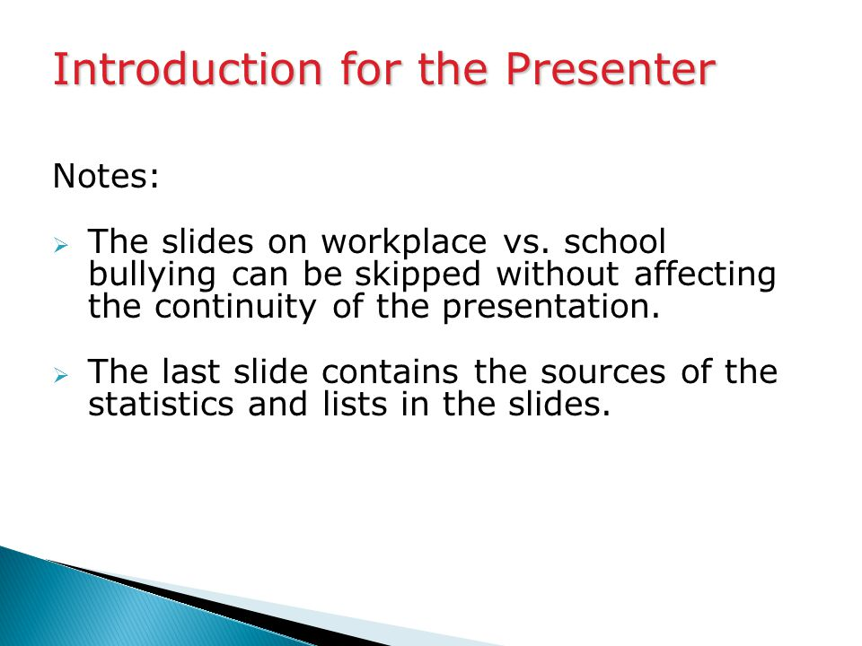 Notes:  The slides on workplace vs.