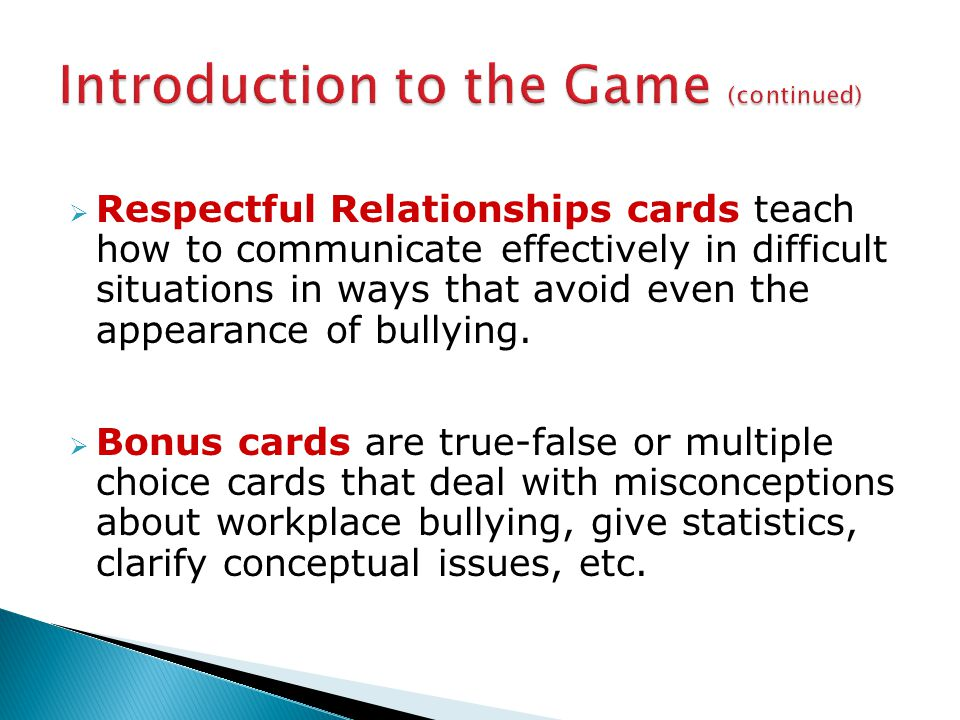  Respectful Relationships cards teach how to communicate effectively in difficult situations in ways that avoid even the appearance of bullying.