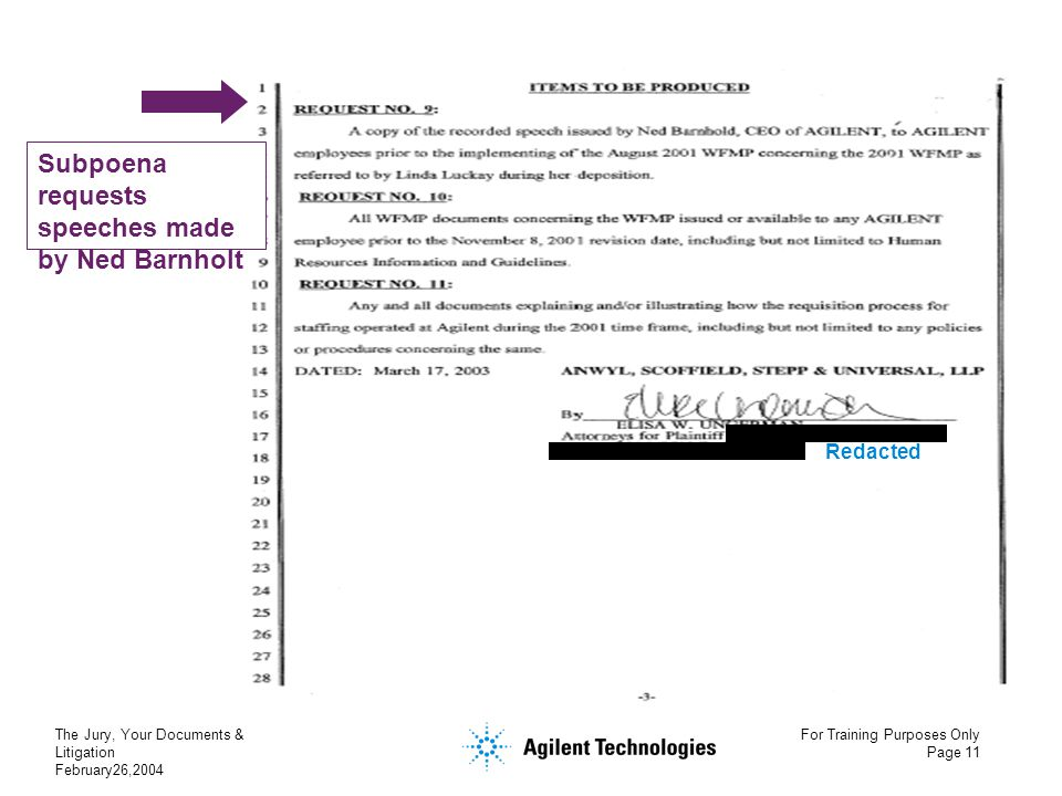 The Jury, Your Documents & Litigation February26,2004 For Training Purposes Only Page 11 Subpoena requests speeches made by Ned Barnholt Redacted