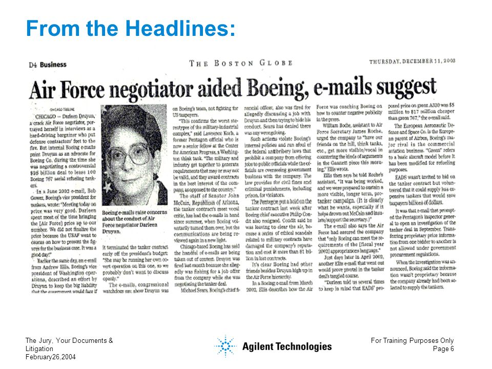 The Jury, Your Documents & Litigation February26,2004 For Training Purposes Only Page 6 From the Headlines: