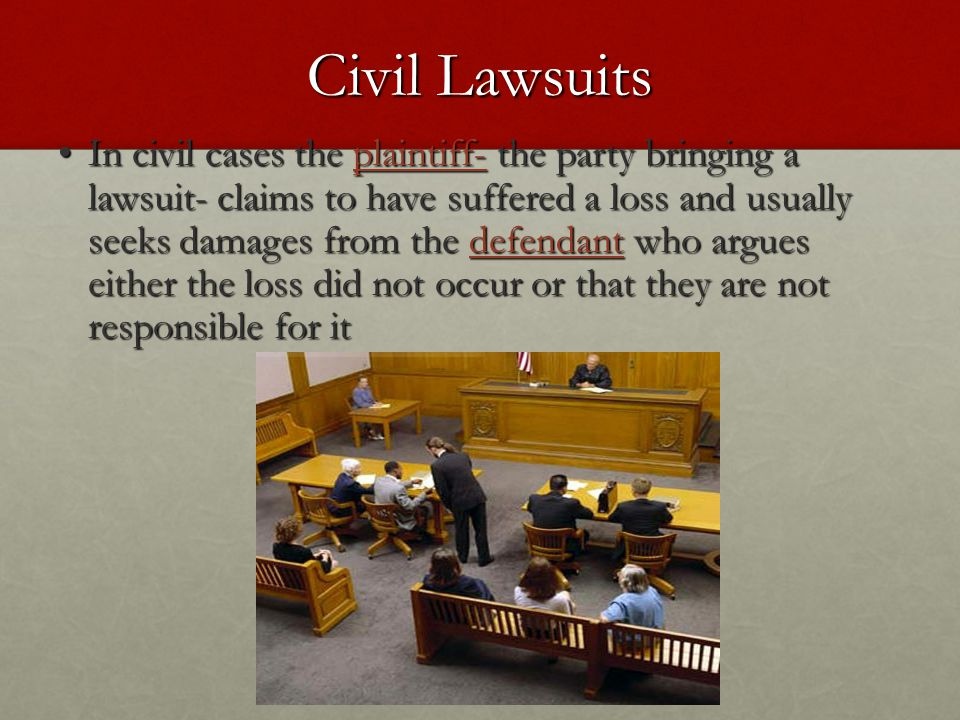 Civil Lawsuits In civil cases the plaintiff- the party bringing a lawsuit- claims to have suffered a loss and usually seeks damages from the defendant