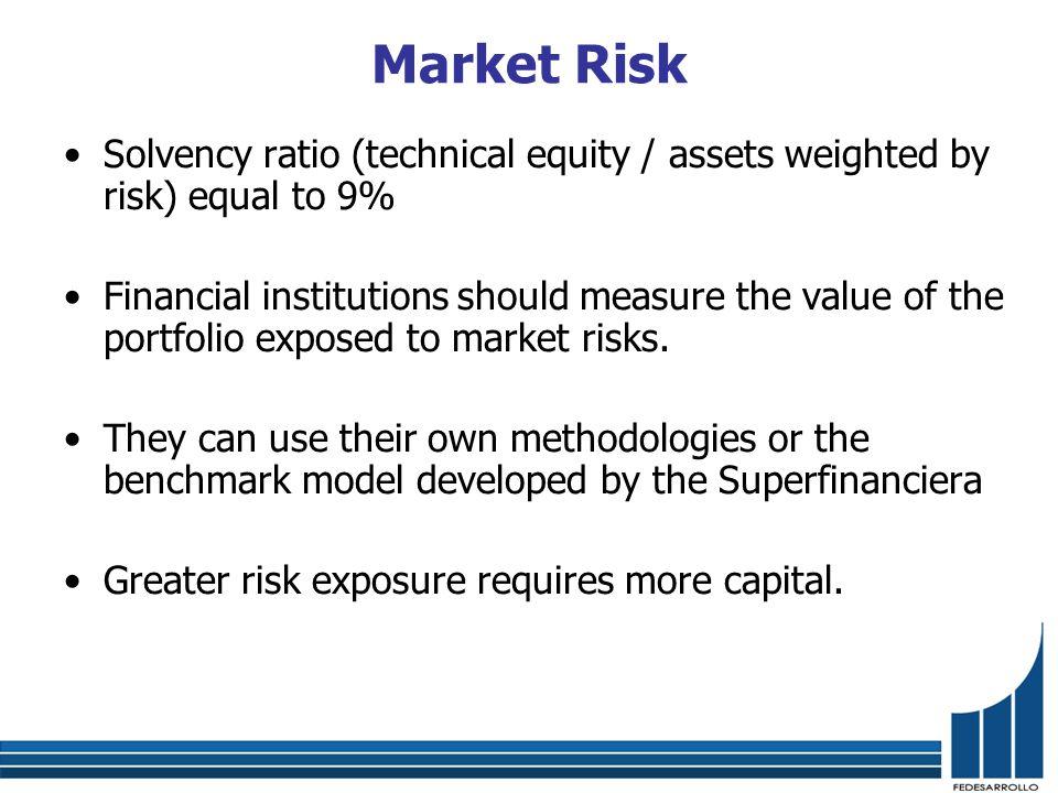 Market Risk Solvency ratio (technical equity / assets weighted by risk) equal to 9% Financial institutions should measure the value of the portfolio exposed to market risks.
