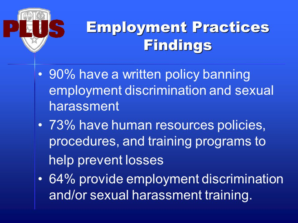 Employment Practices Findings 90% have a written policy banning employment discrimination and sexual harassment 73% have human resources policies, pro