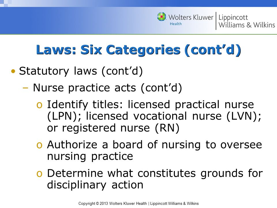 Copyright © 2013 Wolters Kluwer Health | Lippincott Williams & Wilkins Statutory laws (cont'd) –Nurse practice acts (cont'd) oIdentify titles: licensed practical nurse (LPN); licensed vocational nurse (LVN); or registered nurse (RN) oAuthorize a board of nursing to oversee nursing practice oDetermine what constitutes grounds for disciplinary action Laws: Six Categories (cont'd)