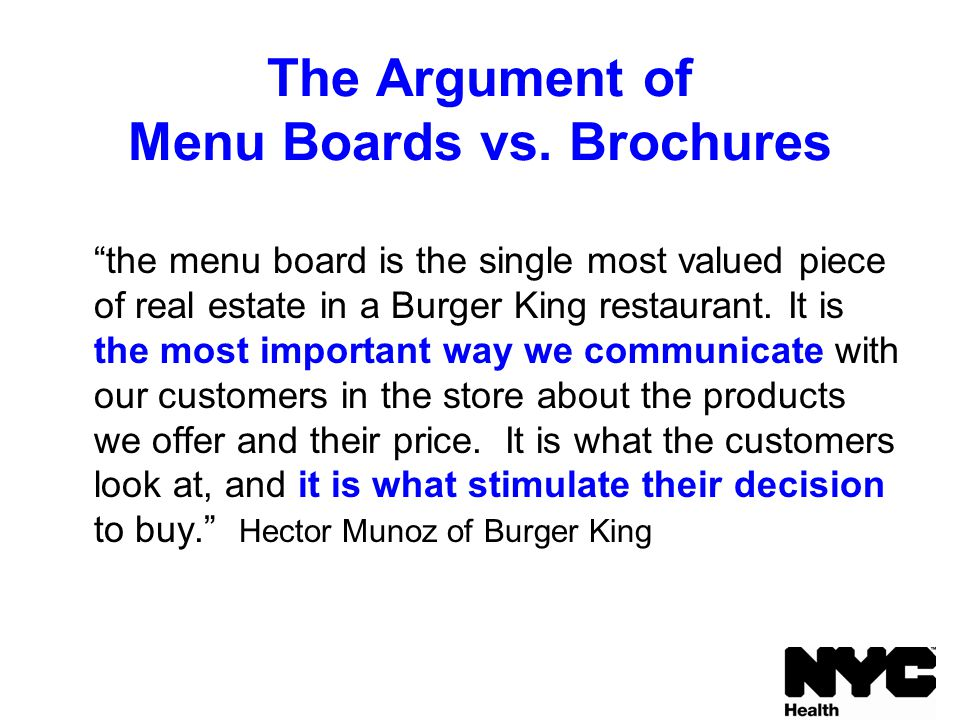 The Argument of Menu Boards vs.