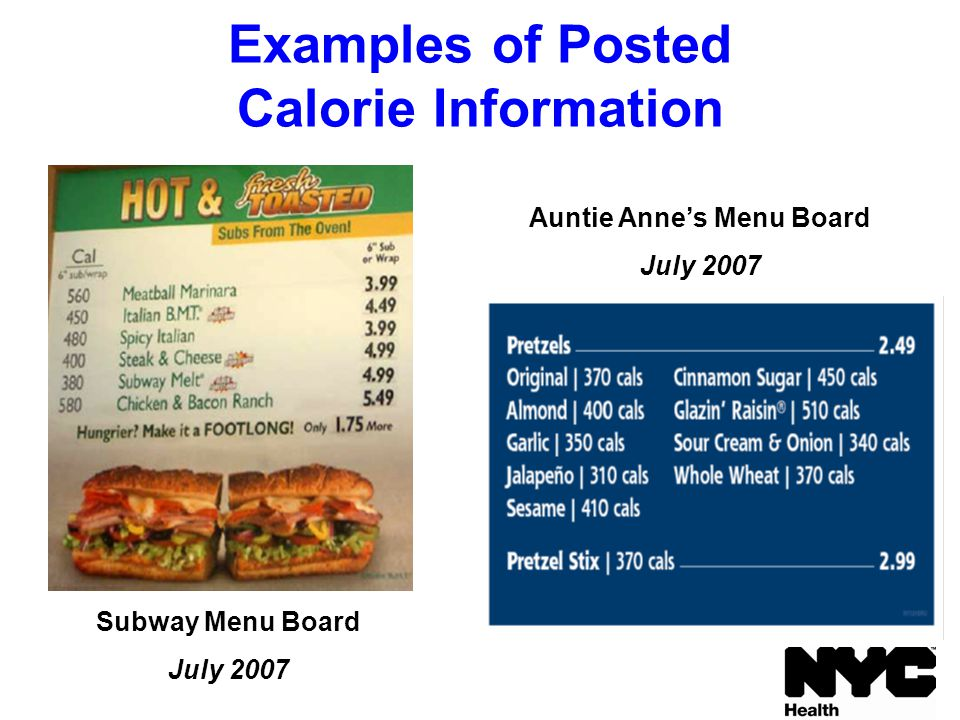 Examples of Posted Calorie Information Subway Menu Board July 2007 Auntie Anne's Menu Board July 2007