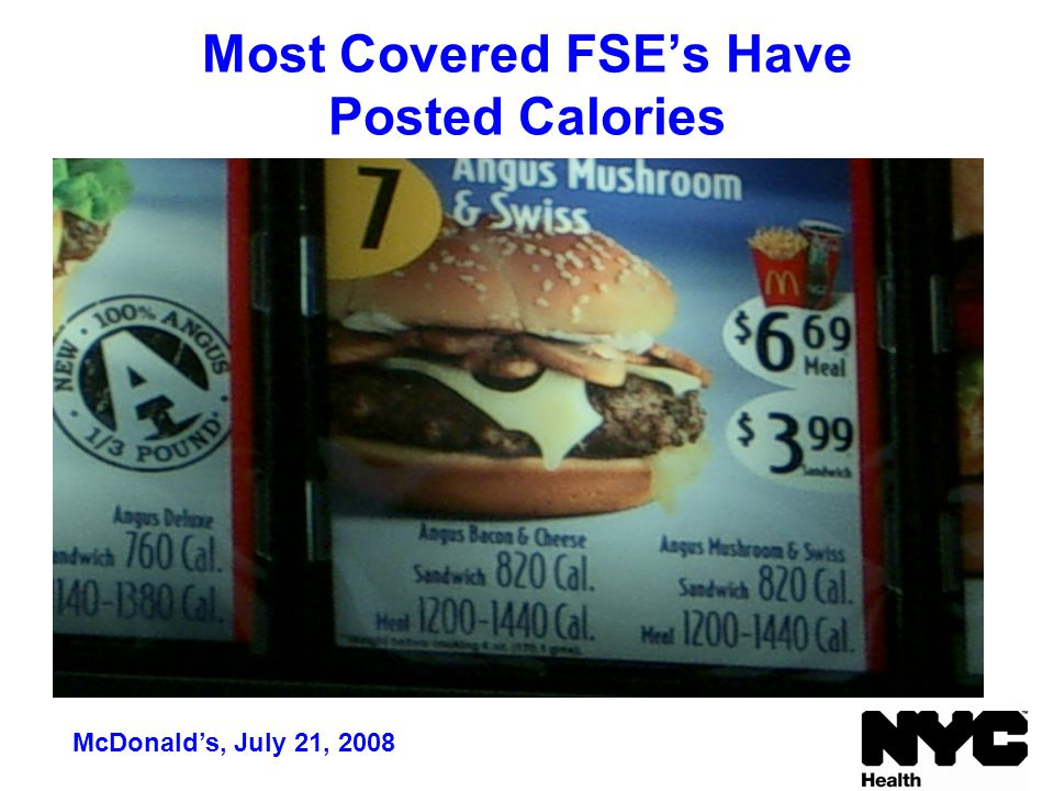 Most Covered FSE's Have Posted Calories McDonald's, July 21, 2008