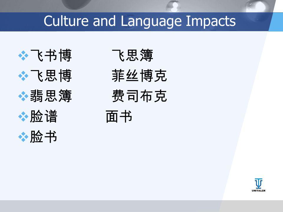 Culture and Language Impacts  飞书博 飞思簿  飞思博 菲丝博克  翡思簿 费司布克  脸谱 面书  脸书