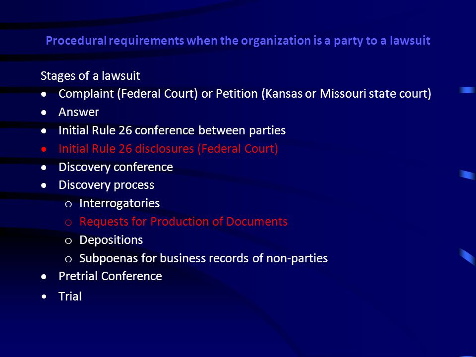 Procedural requirements when the organization is a party to a lawsuit 2 types of procedural events:  Initial disclosures in Federal Court lawsuits  Requests for Production of Documents in Federal Court and state court lawsuits