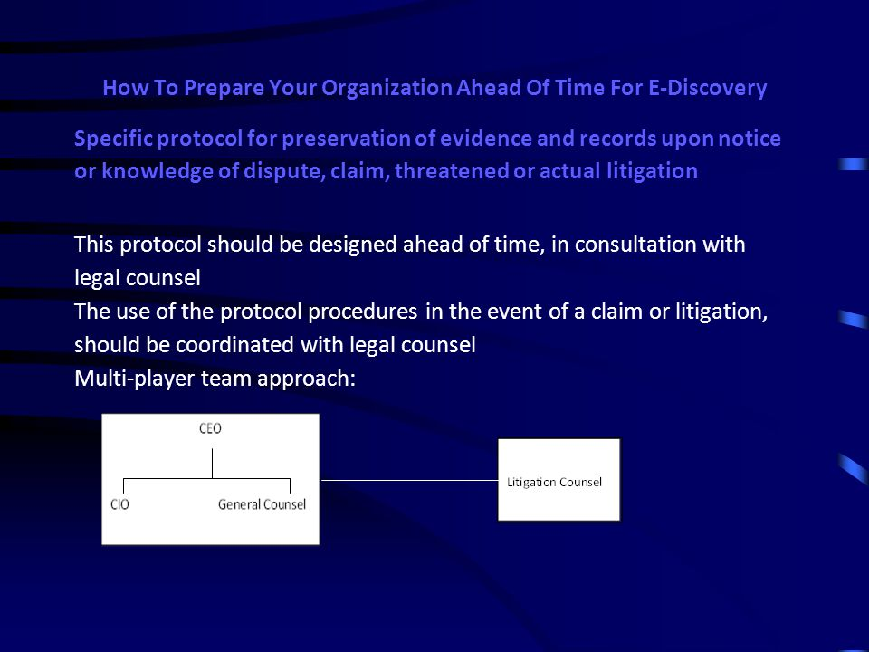How To Prepare Your Organization Ahead Of Time For E-Discovery KEY MANAGEMENT & LEGAL ELEMENT: Specific protocol for preservation of evidence and records upon notice or knowledge of dispute, claim, threatened or actual litigation If the organization becomes aware of  the initiation of, or need for, any legal investigation  a dispute or claim with another party  threatened litigation with another party  actual filing of litigation organization should immediately take all reasonable steps to  identify and preserve relevant potential records (including e-mails, underlying documents and drafts of documents)  prevent employees for altering or deleting documents (including e-mails)  implement (with careful consultation with legal counsel) appropriate protocols and limitations regarding creation of new documents, e-mail and communication relating to the claim or litigation o all internal inquiries, communication about the claim/litigation should be with or at the direction of counsel o work product doctrine