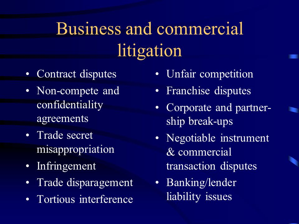 Overview of Legal Services Offered Business and commercial litigation Complex litigation Business and corporate representation Employment law Insuranc