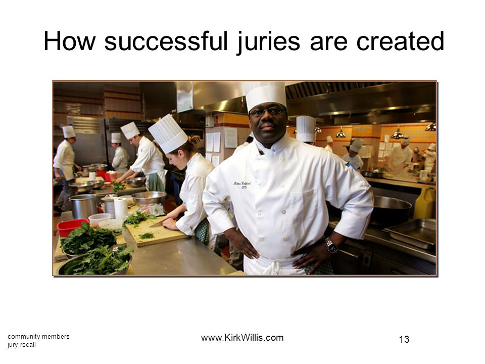 13 www.KirkWillis.com How successful juries are created community members jury recall