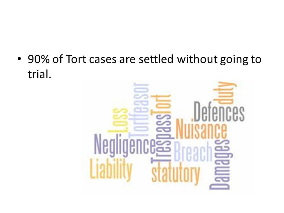 90% of Tort cases are settled without going to trial.