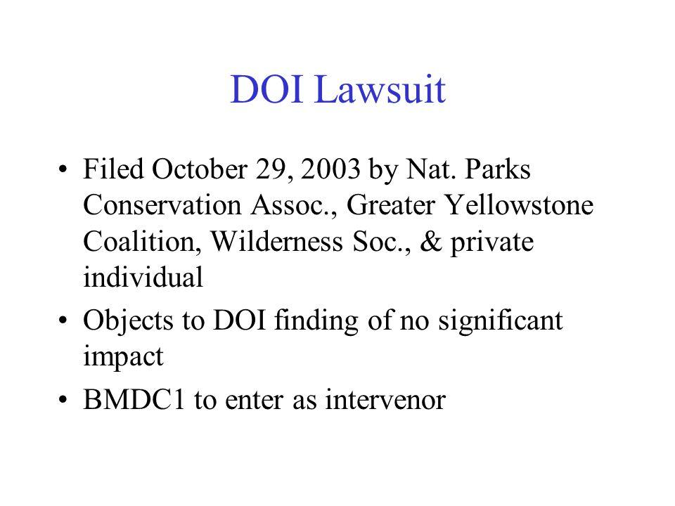 DOI Lawsuit Filed October 29, 2003 by Nat.